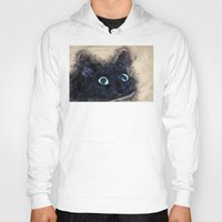 black cat Hoodies featuring Black cat by jbjart