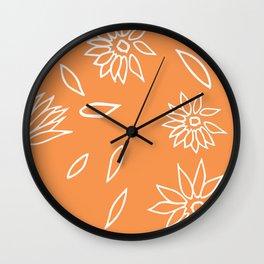 Peachy Orange White Dancing Daisies Wall Clock