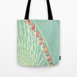 Nursery ferris wheel over mint pastel sky Tote Bag