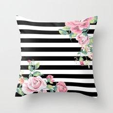 Floral Stripes Throw Pillow