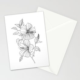 Hibiscus Flower drawing Stationery Cards
