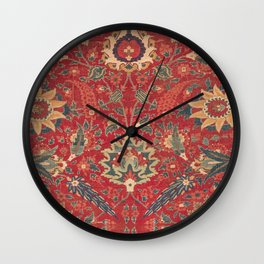 Indian Trellis I // 17th Century Ornate Medallion Red Blue Green Flowers Leaf Colorful Rug Pattern Wall Clock