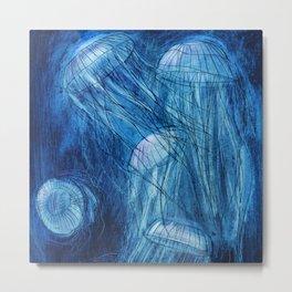 Jellyfish in the sea Metal Print