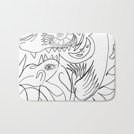 Dragon and bird Bath Mat