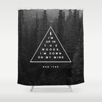 text Shower Curtains featuring Woods -- Bon Iver by Zeke Tucker