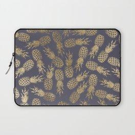 Elegant mauve purple gold tropical pineapple fruit Laptop Sleeve
