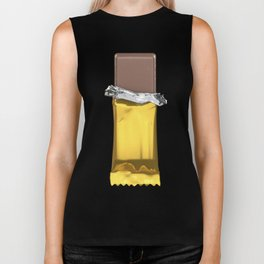 Chocolate candy bar in gold wrapper Biker Tank