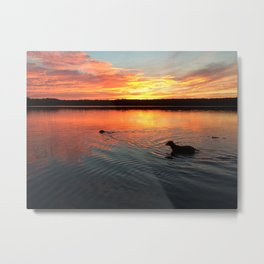 sunset on silver lake Metal Print