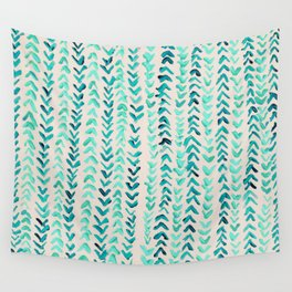 Hand Painted Herringbone Pattern in Mint Wall Tapestry