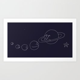 Smiling Solar System - Navy Art Print