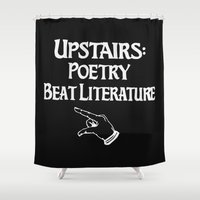 literature Shower Curtains featuring Poetry and Beat Generation Literature by Down Collective