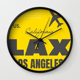 Airport code sticker LAX yellow Wall Clock
