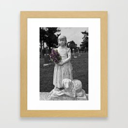 Girl Statue With Purple Roses Framed Art Print