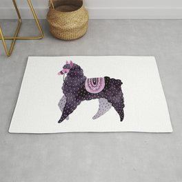 Cute Cozy Watercolour Illustration Scandinavian Style Sassy Purple Lama Rug