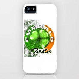 Shamrock  Emerald Isle - Distressed Irish Tee Shirt iPhone Case
