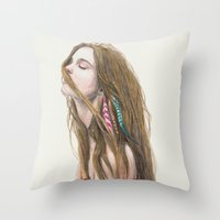 wind Throw Pillows featuring The Wind by Carlos ARL