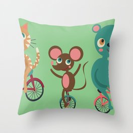 Let's Ride Bikes Throw Pillow