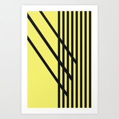 CVS0099 Yellow with Black Criss Cross Stripes Art Print