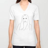 versace V-neck T-shirts featuring Donatella Versace Portrait by Chiara Rigoni