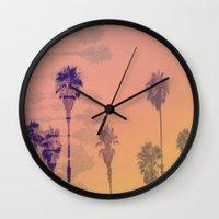santa monica Wall Clocks featuring Santa Monica Palms by Nina May Designs