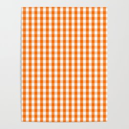 Classic Pumpkin Orange and White Gingham Check Pattern Poster
