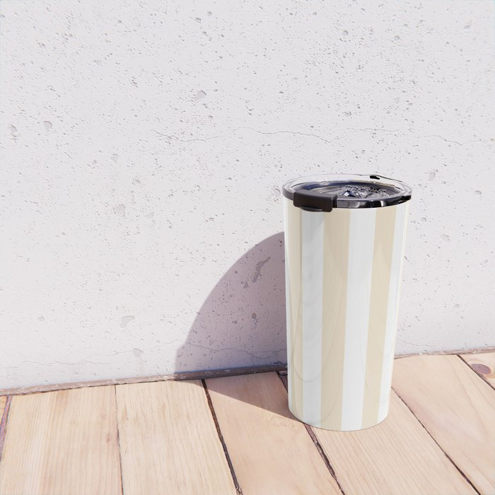 Narrow Vertical Stripes - White and Champagne Orange Travel Mug