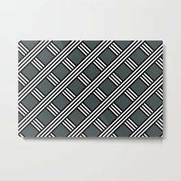 PPG Night Watch, Black & White Diagonal Stripes Lattice Pattern Metal Print