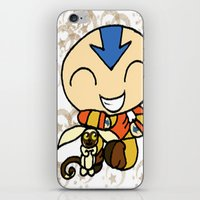 aang iPhone & iPod Skins featuring PowerPuff Aang by auroranq