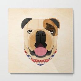 American Bulldog Dog Portrait Metal Print