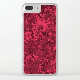 Amaranth Red Hybrid Camo Pattern Design Clear iPhone Case