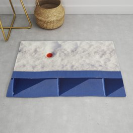 Red Dot In White Snow On Blue Container Rug