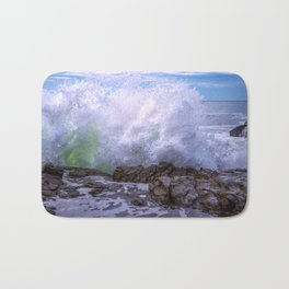 Inner Strength waves crashing at Moonstone Beach California Bath Mat