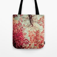 red Tote Bags featuring Autumn Inkblot by Olivia Joy StClaire