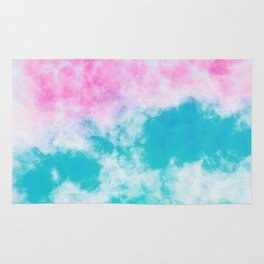 Pink and blue watercolor effect Rug