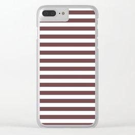 Pantone Red Pear & White Uniform Stripes Fat Horizontal Line Pattern Clear iPhone Case