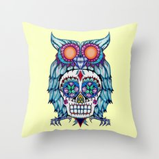 Sugar Skull Owl Day Of The Dead Throw Pillow