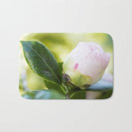 Strawberry Blonde Camellia from Bud to Bloom Bath Mat