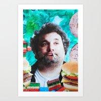 jessica lange Art Prints featuring Artie Lange by John Turck