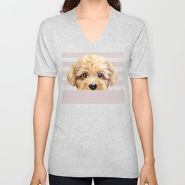 Toy poodle Dog illustration original painting print Unisex V-Neck