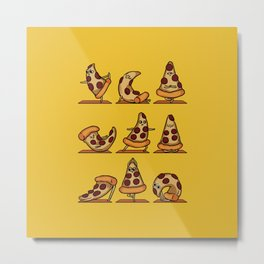 Pizza Yoga Metal Print