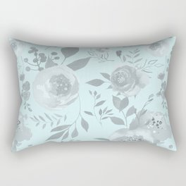 light blue and gray floral watercolor print Rectangular Pillow