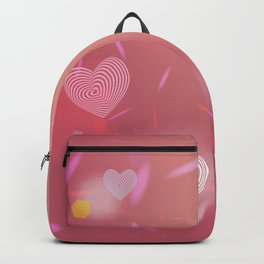 Abstract pink background, light glare. Heart. Valentines day card Backpack