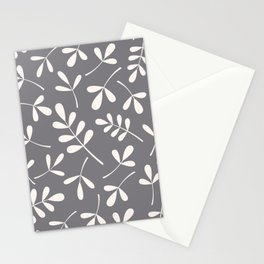 Assorted Leaf Silhouettes Cream on Grey Stationery Cards