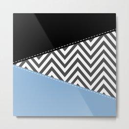 Zigzag Pattern, Chevron Pattern - Gray Blue Black Metal Print