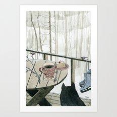 Winter Breakfast on the Porch Art Print
