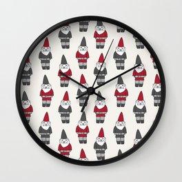 Gnome garden cute kids home pattern minimal gender neutral gnomes Wall Clock