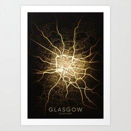 glasgow Scotland britain city night light map Art Print