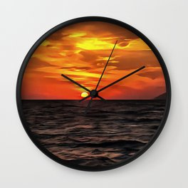 Sunset Over The Mediterranean Sea Wall Clock