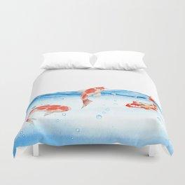 Happy koi fish- fishes sea water lake Duvet Cover