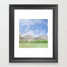 Snowy Watercolor Landscape Framed Art Print